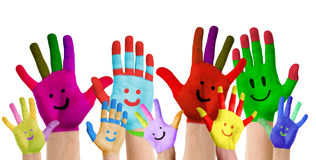 Smiling colorful hands Royalty Free Stock Photos