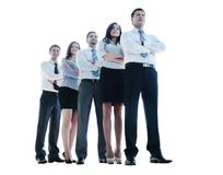 Smiling and confident business team standing isolated on white Stock Photos