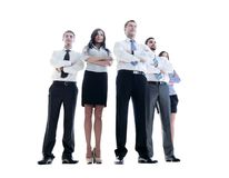 Smiling and confident business team standing isolated on white Stock Photography