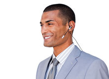 Smiling Confident businessman with headset on Royalty Free Stock Photos