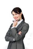 Smiling confident businesswoman holding glasses Royalty Free Stock Photos