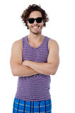 Smiling confident guy in beach wear Royalty Free Stock Photos