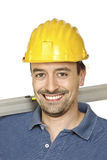 Smiling confident manual worker royalty free stock photo