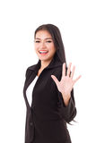 Smiling, confident, successful business woman executive greeting Royalty Free Stock Images