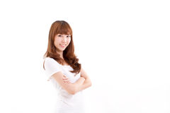 Smiling, confident woman crossing her arms Royalty Free Stock Image