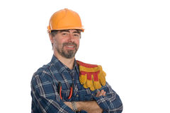 Smiling construction worker. Stock Photos