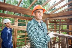 Smiling Construction Worker Carrying Ladder At Royalty Free Stock Image