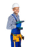 Smiling construction worker with drill and tool belt. Isolated on white background stock photos