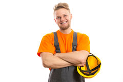 Smiling construction worker. Isolated white Stock Photography