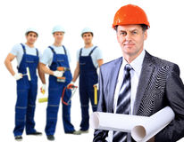 Smiling Construction worker man. Royalty Free Stock Image