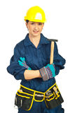 Smiling constructor worker woman Stock Photography