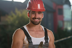 Smiling Contractor Showing Thumb Up Royalty Free Stock Photo