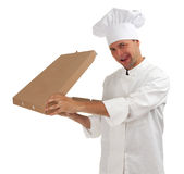 Smiling cook with box of pizza Royalty Free Stock Images