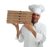 Smiling cook with boxes of pizza Royalty Free Stock Images