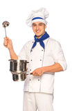 Smiling cook chef with kitchenware Stock Photos