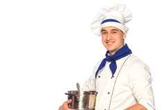 Smiling cook chef with kitchenware Royalty Free Stock Photos