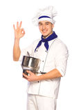 Smiling cook chef with kitchenware Royalty Free Stock Image