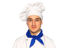 Smiling cook chef. Portrait of smiling cook chef isolated on white background Royalty Free Stock Images