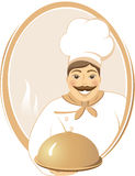 Smiling cook with dish in round frame Royalty Free Stock Photography
