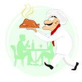 Smiling cook holding plate with roast chicken Stock Images