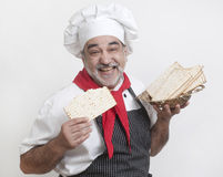 Smiling cook with matza Royalty Free Stock Image
