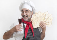 Smiling cook with matza Stock Photography