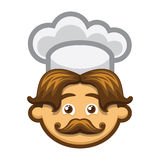 Smiling cook with mustache and chefs hat Royalty Free Stock Photo