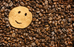 Smiling  cookie on coffee beans background. Simple smiling cookie on roasted coffee beans background Royalty Free Stock Photography