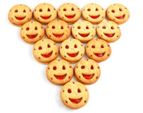 Smiling cookies. As a merry group stock images