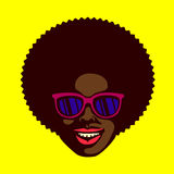 Smiling cool dude face black man with afro hair and sunglasses vector Stock Photos