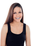 Smiling cool girl with brackets Royalty Free Stock Photography
