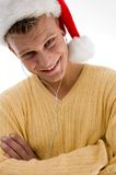 Smiling cool man with christmas hat Stock Photos