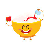 Smiling cottage cheese bowl character pouring strawberry jam over itself Stock Photo