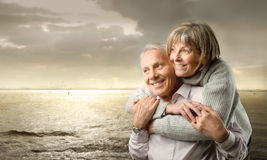 Smiling couple. Portrait of a smiling senior couple royalty free stock photography