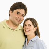 Smiling couple. Portrait of smiling couple against white background royalty free stock images