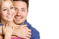Smiling Couple. Young happy smiling couple isolated royalty free stock photography