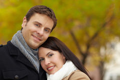 Smiling couple in autumn Royalty Free Stock Photo