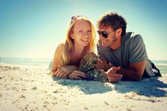 Smiling Couple at Beach Royalty Free Stock Photo