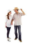 Smiling couple both wearing hats Stock Photos