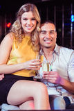 Smiling couple with champagne Stock Images