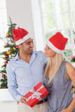 Smiling couple at christmas Royalty Free Stock Photo