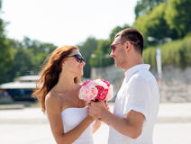 Smiling couple in city Stock Photography