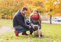 Smiling couple with dog in autumn park Stock Images