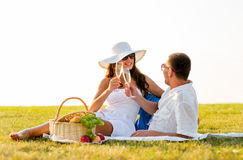 Smiling couple drinking champagne on picnic Stock Photography
