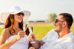 Smiling couple drinking champagne on picnic Stock Images