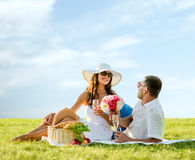 Smiling couple drinking champagne on picnic Royalty Free Stock Photos