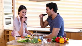 Smiling couple drinking glasses of wine. In a kitchen stock video footage
