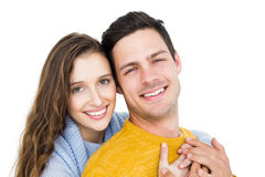 Smiling couple embracing and looking the camera Royalty Free Stock Images