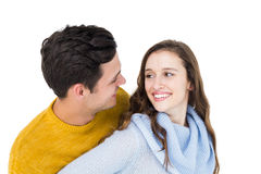 Smiling couple embracing and looking each other Royalty Free Stock Image