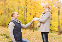 Smiling couple with engagement ring in gift box Royalty Free Stock Photos
